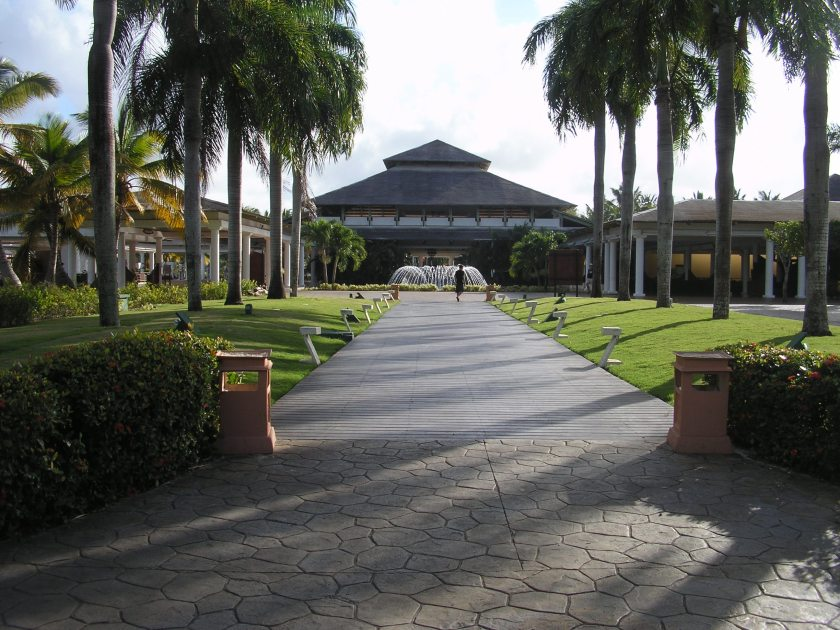The rear view of the resort