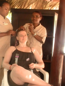 Getting my hair braided