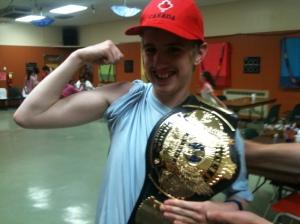 Brett with the WWF Championship Belt