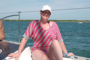 On the Catamaran heading to see the dolphins